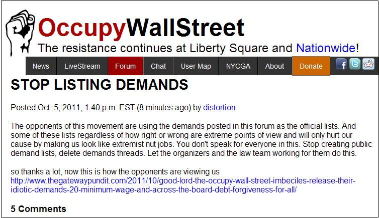 Occupy Wall Street Website Stop Listing Demands We Look Like - Occupy wall street us map