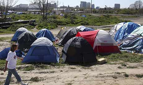 A homeless enc&ment known as Tent City in Sacramento California. (Rich Pedroncelli/AP) & Thanks Barack... Record Unemployment Rate Is Forcing Growth of ...
